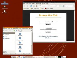 Slitaz mostrando a PCManFM y Firefox