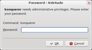 Interfaz gráfica para sudo de KDE